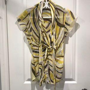 Cache - Yellow/Brown/White Blouse